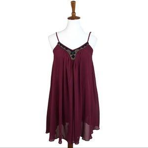 Express Chiffon Trapeze Beaded Flowy Dress
